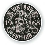 Distressed Aged Vintage Edition Year Dated 1965 Biker Skull Roundel Vinyl Car Sticker Decal 87x87mm